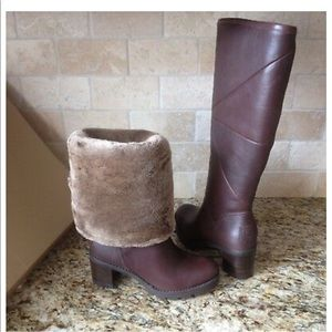 UGG AVERY WATER-RESISTANT LEATHER SHEEPSKIN BOOTS